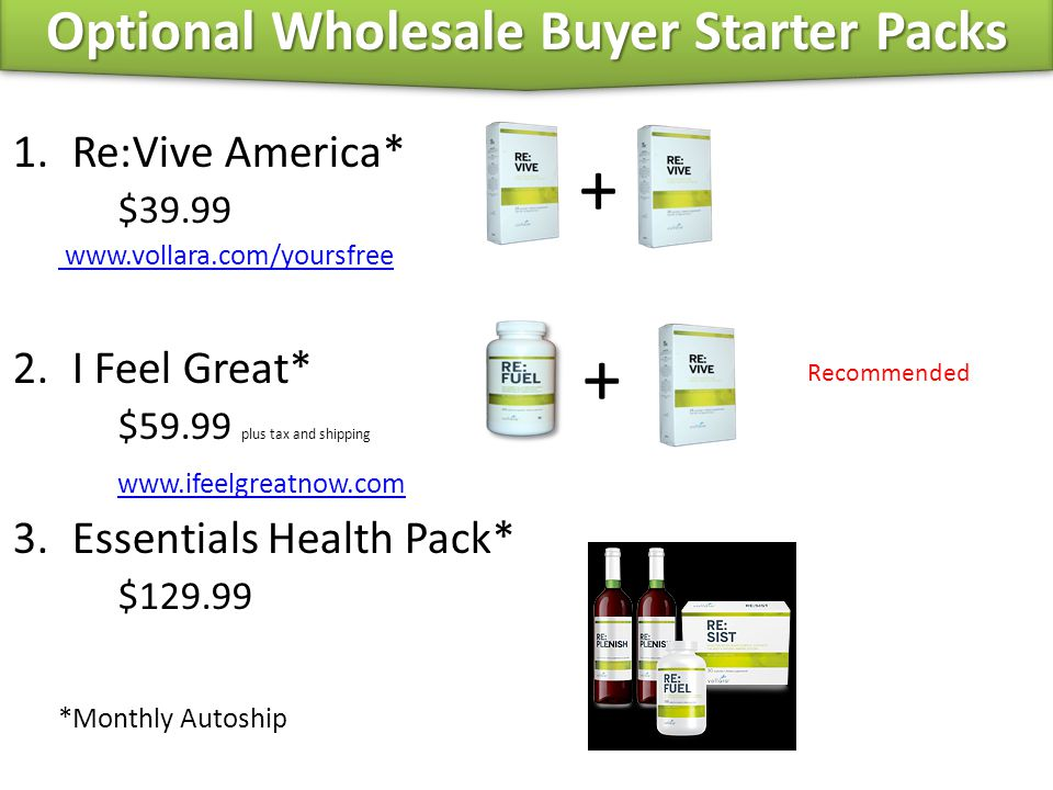 1.Re:Vive America* $39.99 www.vollara.com/yoursfree 2.I Feel Great* $59.99 plus tax and shipping www.ifeelgreatnow.com 3.Essentials Health Pack* $129.
