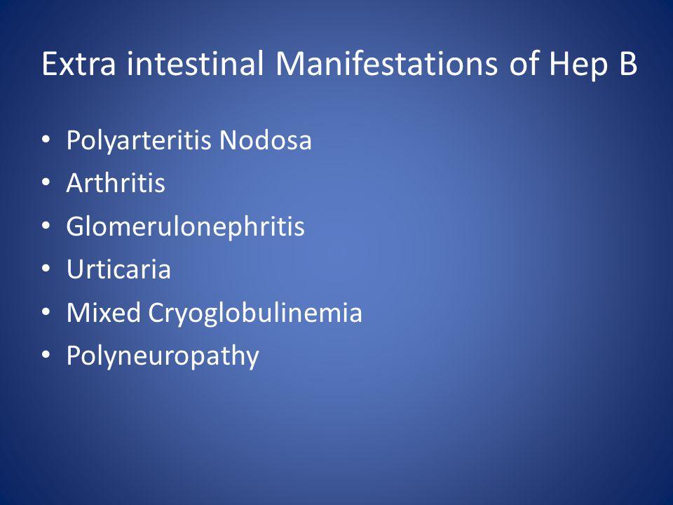 Extra intestinal Manifestations of Hep B Polyarteritis Nodosa Arthritis Glomerulonephritis Urticaria Mixed Cryoglobulinemia Polyneuropathy