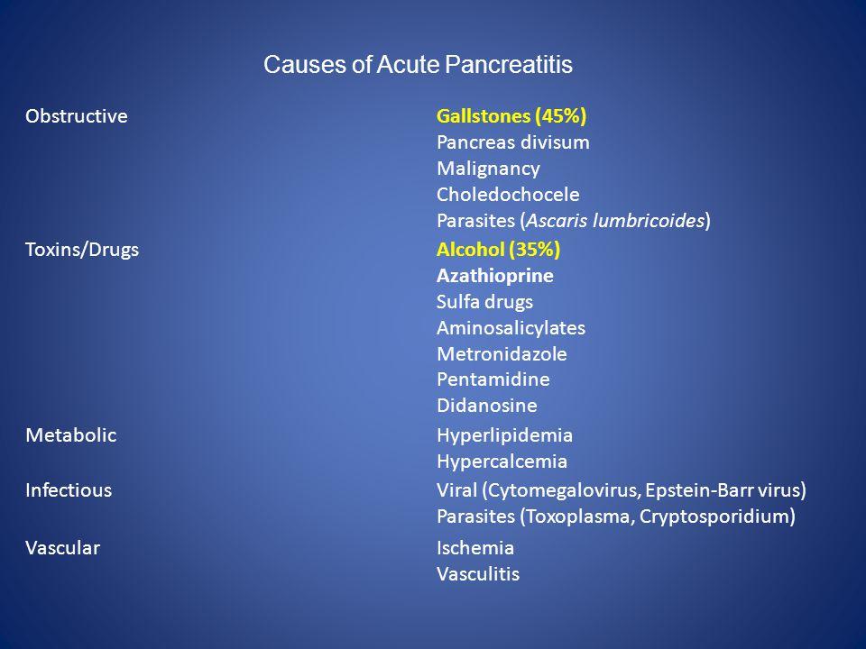 ObstructiveGallstones (45%) Pancreas divisum Malignancy Choledochocele Parasites (Ascaris lumbricoides) Toxins/DrugsAlcohol (35%) Azathioprine Sulfa d