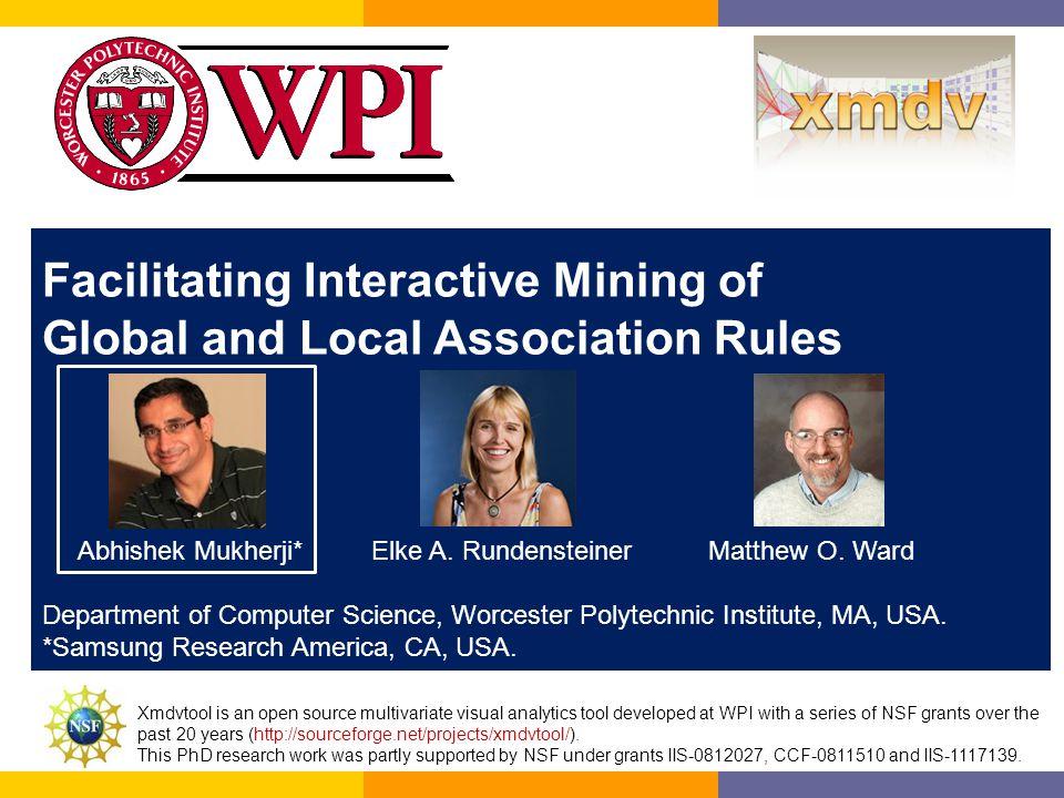 Facilitating Interactive Mining of Global and Local Association Rules Abhishek Mukherji* Elke A.
