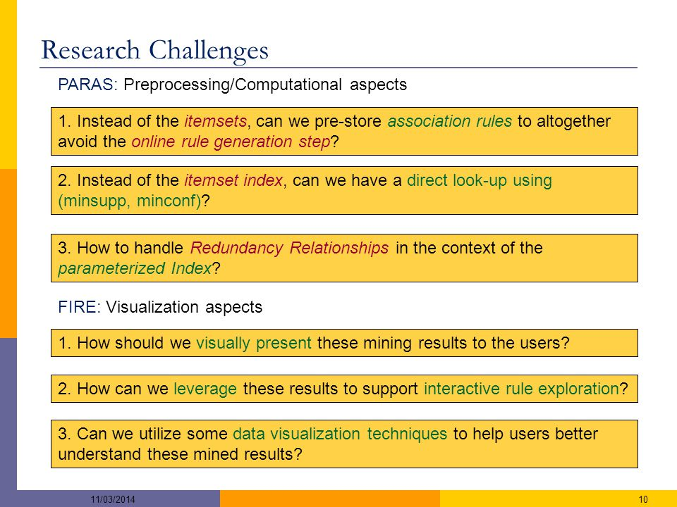 Research Challenges PARAS: Preprocessing/Computational aspects 11/03/201410 1.