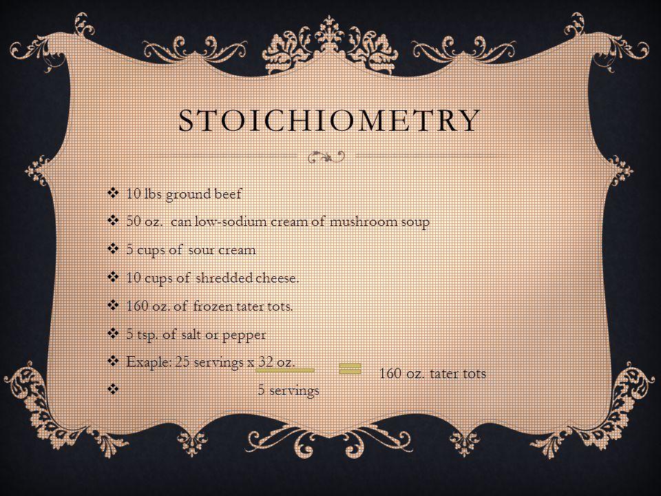 STOICHIOMETRY  10 lbs ground beef  50 oz.