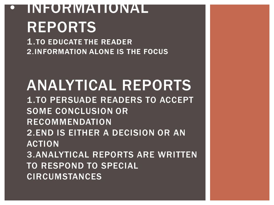 INFORMATIONAL REPORTS 1.