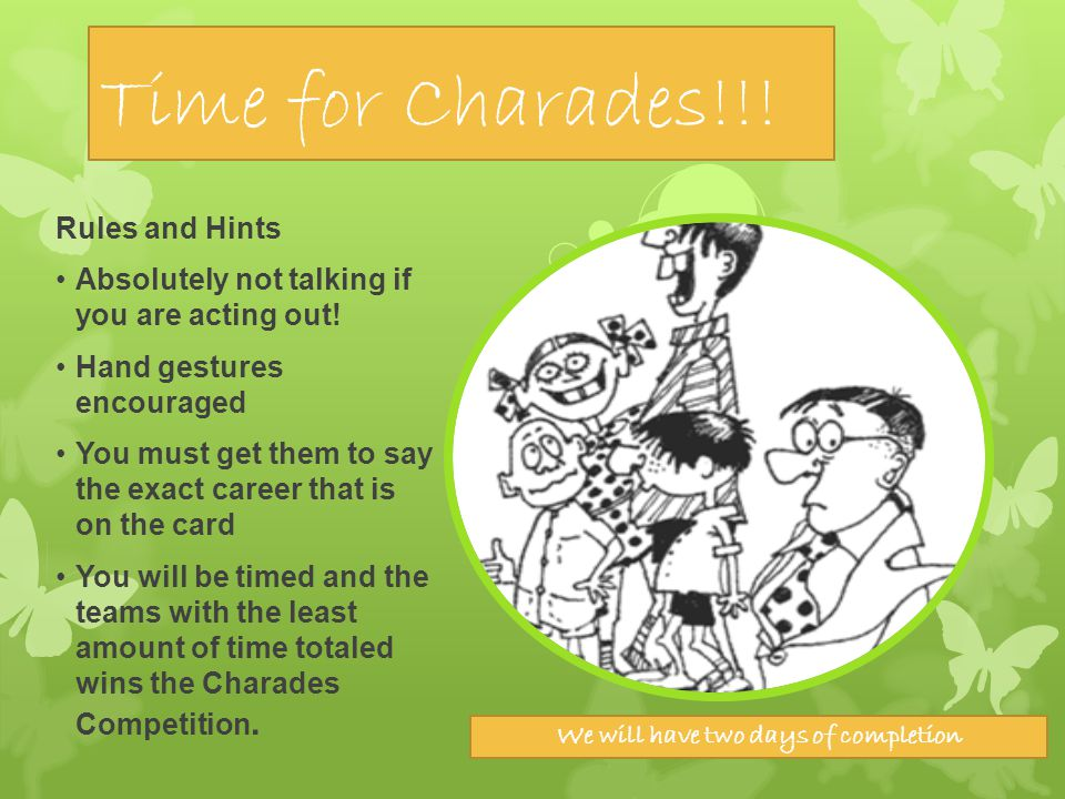 Time for Charades!!! Rules and Hints Absolutely not talking if you are acting out! Hand gestures encouraged You must get them to say the exact career