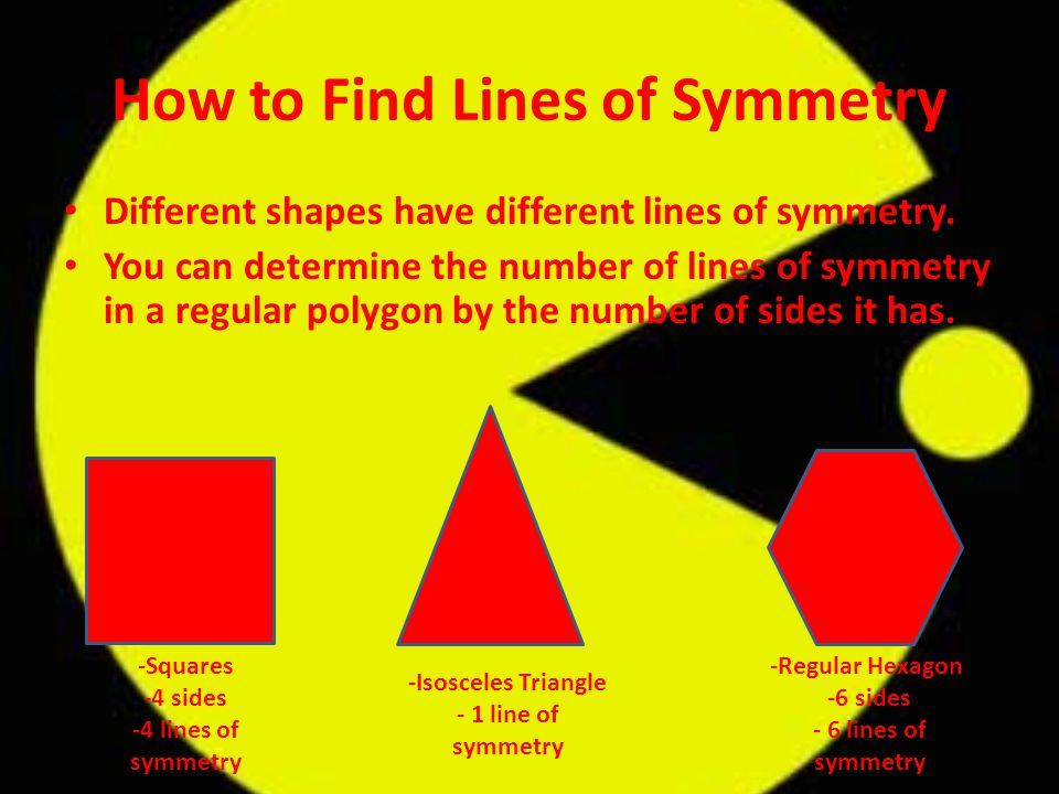 How to Find Lines of Symmetry Different shapes have different lines of symmetry.