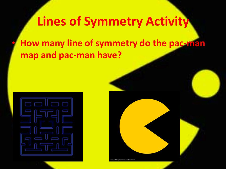 Lines of Symmetry Activity How many line of symmetry do the pac-man map and pac-man have?