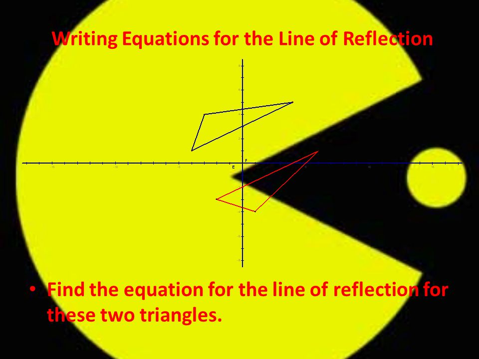 Writing Equations for the Line of Reflection Find the equation for the line of reflection for these two triangles.