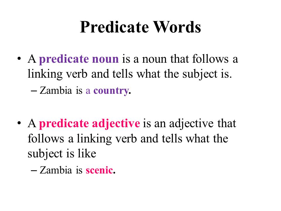 Predicate Words A predicate noun is a noun that follows a linking verb and tells what the subject is.