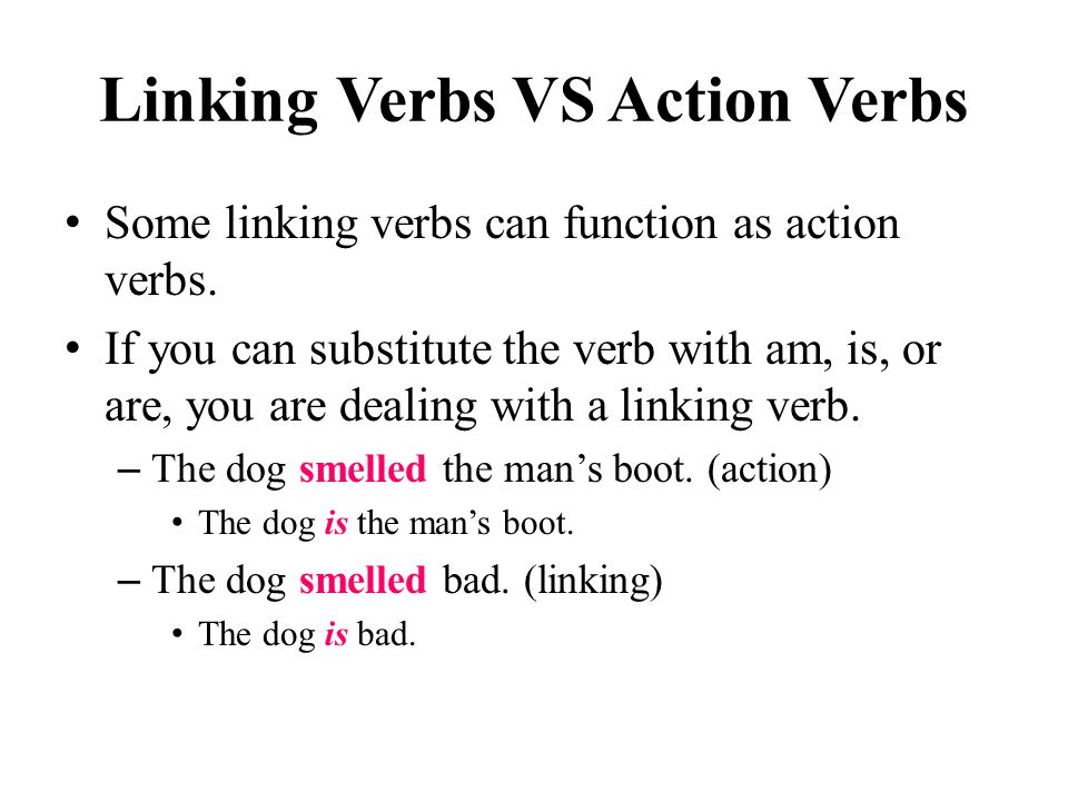 Linking Verbs VS Action Verbs Some linking verbs can function as action verbs.