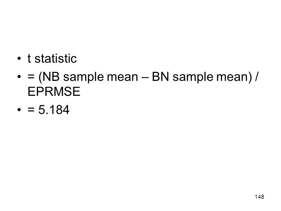 t statistic = (NB sample mean – BN sample mean) / EPRMSE = 5.184 148