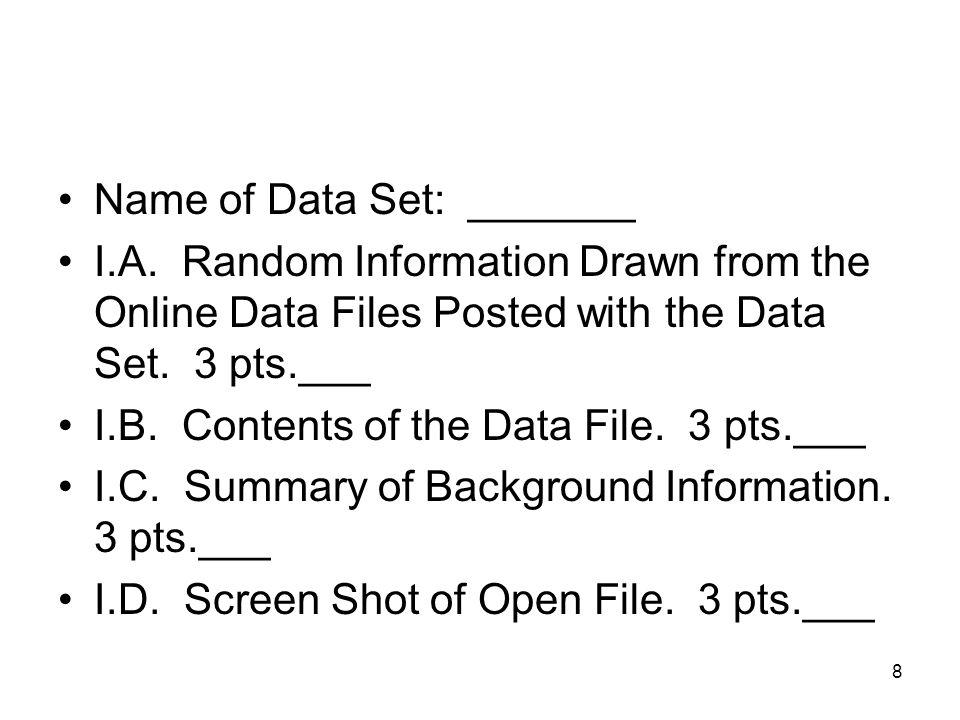 Name of Data Set: _______ I.A.
