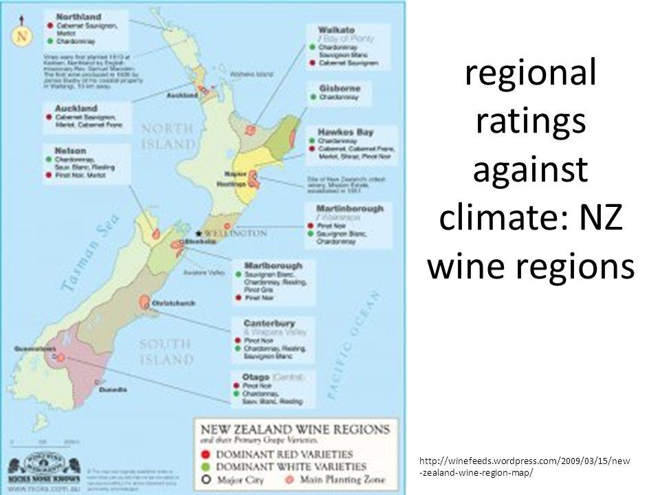 regional ratings against climate: NZ wine regions http://winefeeds.wordpress.com/2009/03/15/new -zealand-wine-region-map/