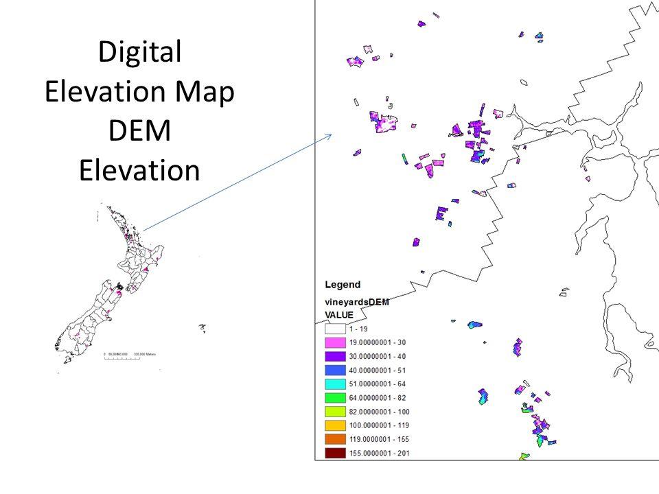 Digital Elevation Map DEM Elevation