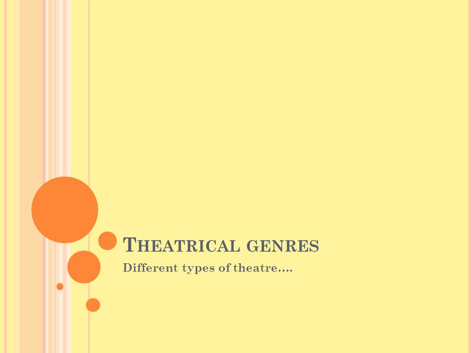 T HEATRICAL GENRES Different types of theatre….