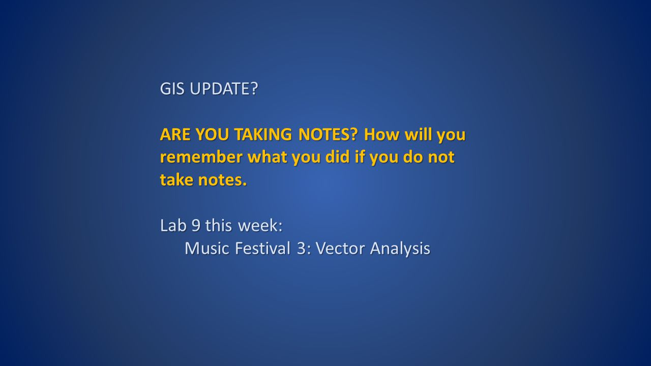 GIS UPDATE. ARE YOU TAKING NOTES. How will you remember what you did if you do not take notes.
