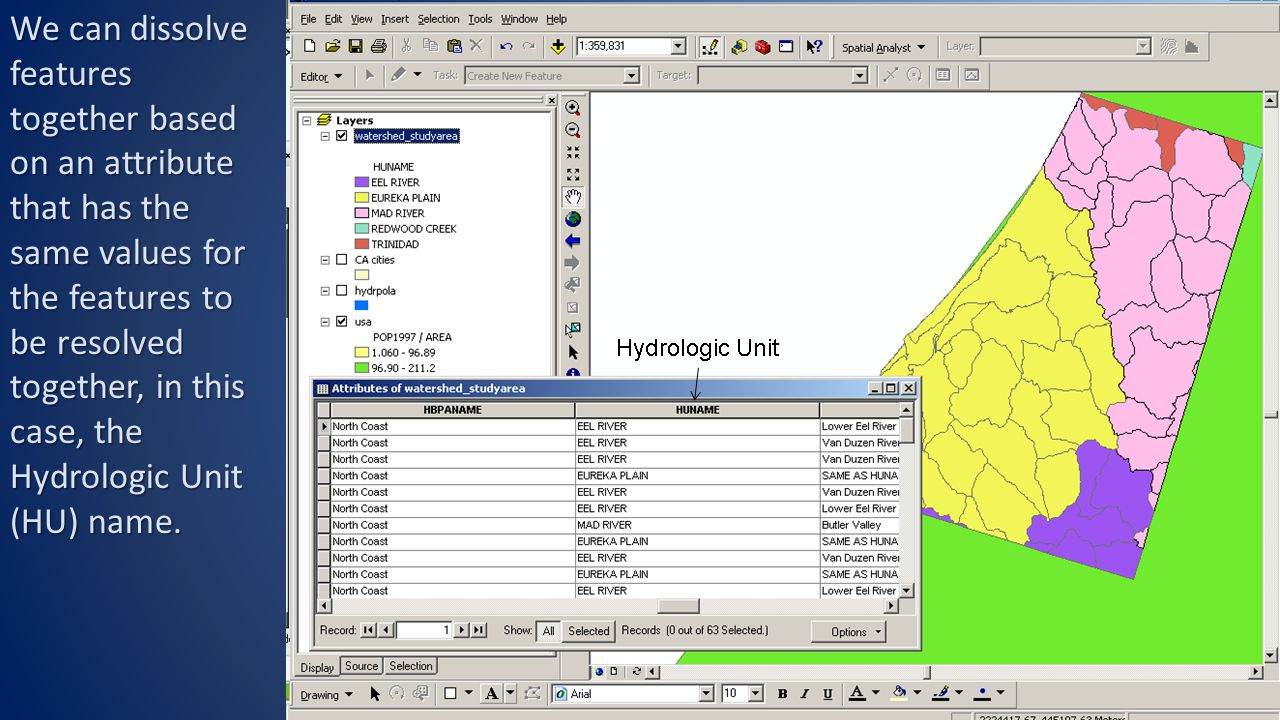 We can dissolve features together based on an attribute that has the same values for the features to be resolved together, in this case, the Hydrologic Unit (HU) name.