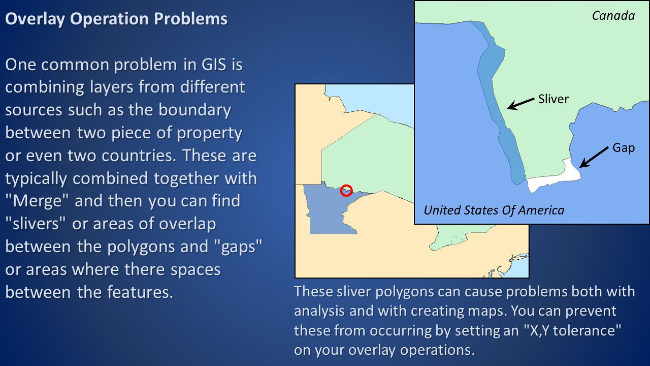 Overlay Operation Problems One common problem in GIS is combining layers from different sources such as the boundary between two piece of property or even two countries.