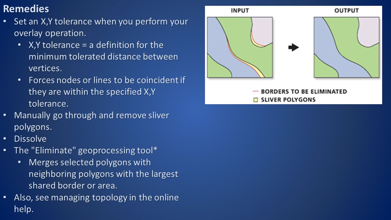 Test Your Knowledge All of the following are remedies for sliver polygons, EXCEPT: Set an X,Y tolerance Set an X,Y tolerance Dissolve Dissolve Eliminate Eliminate Erase Erase Manually Manually