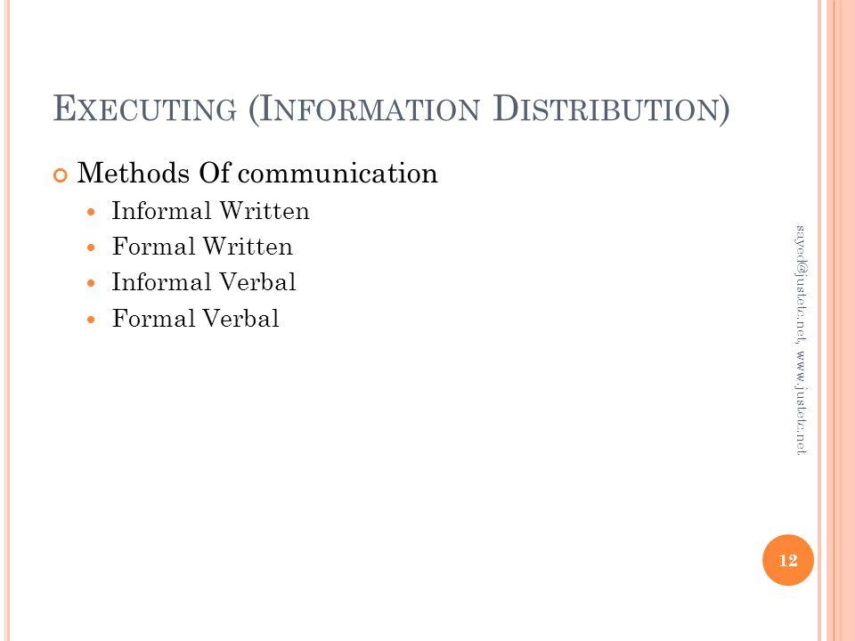 E XECUTING (I NFORMATION D ISTRIBUTION ) Methods Of communication Informal Written Formal Written Informal Verbal Formal Verbal 12 sayed@justetc.net, www.justetc.net