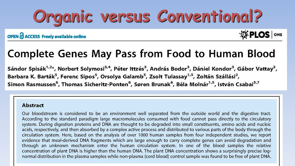 Organic versus Conventional