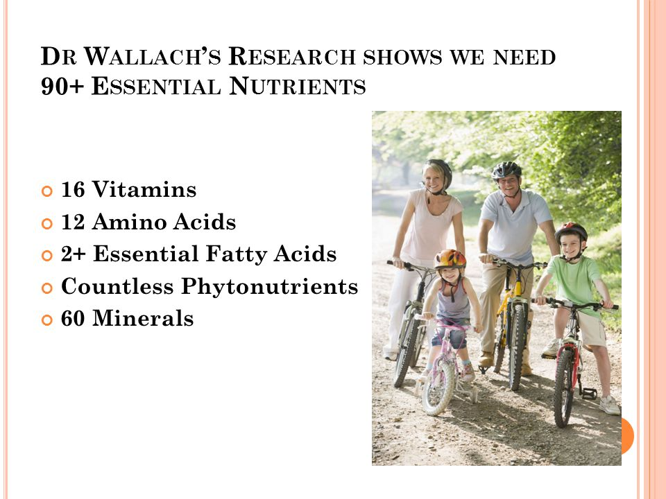 D R W ALLACH ' S R ESEARCH SHOWS WE NEED 90+ E SSENTIAL N UTRIENTS 16 Vitamins 12 Amino Acids 2+ Essential Fatty Acids Countless Phytonutrients 60 Minerals