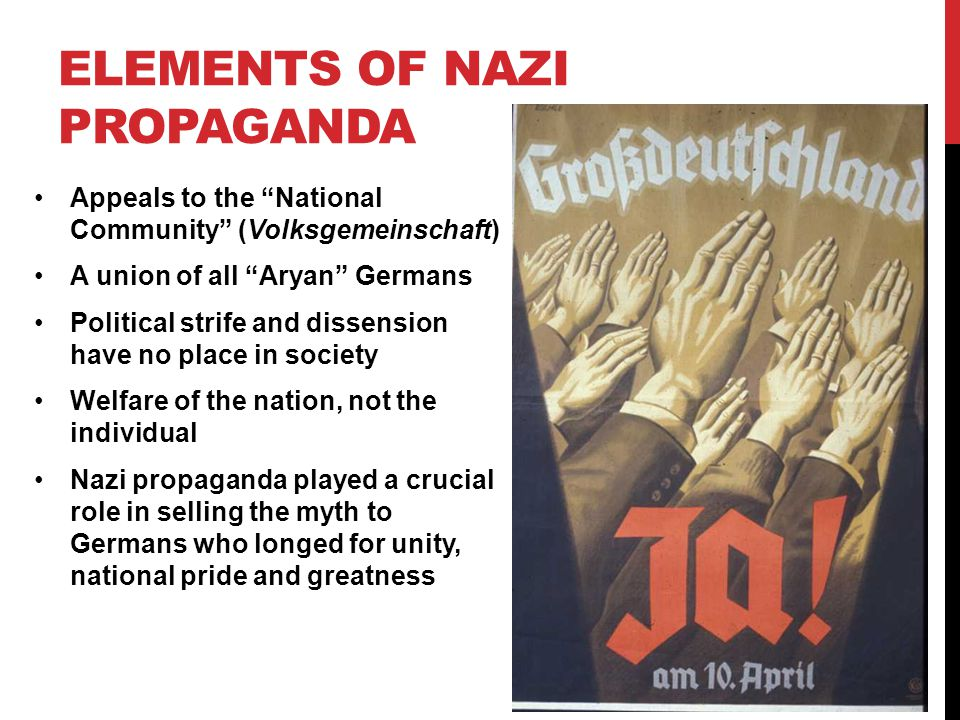 "ELEMENTS OF NAZI PROPAGANDA Appeals to the ""National Community"" (Volksgemeinschaft) A union of all ""Aryan"" Germans Political strife and dissension hav"