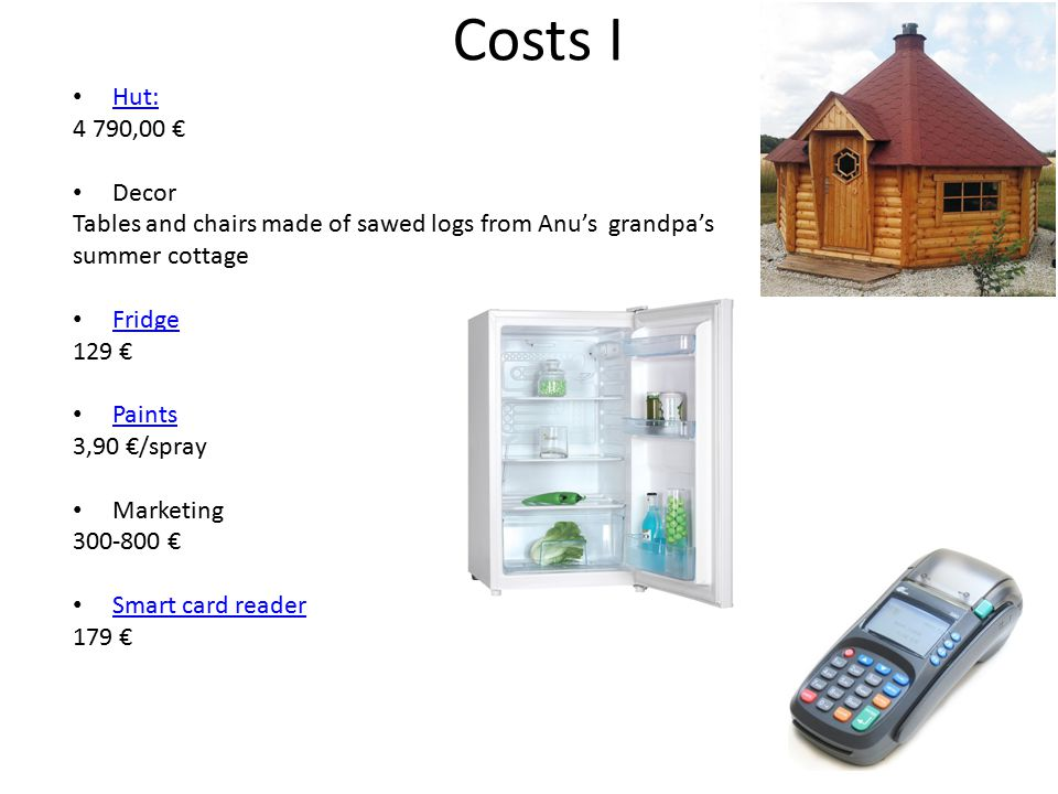 Costs I Hut: 4 790,00 € Decor Tables and chairs made of sawed logs from Anu's grandpa's summer cottage Fridge 129 € Paints 3,90 €/spray Marketing 300-800 € Smart card reader 179 €