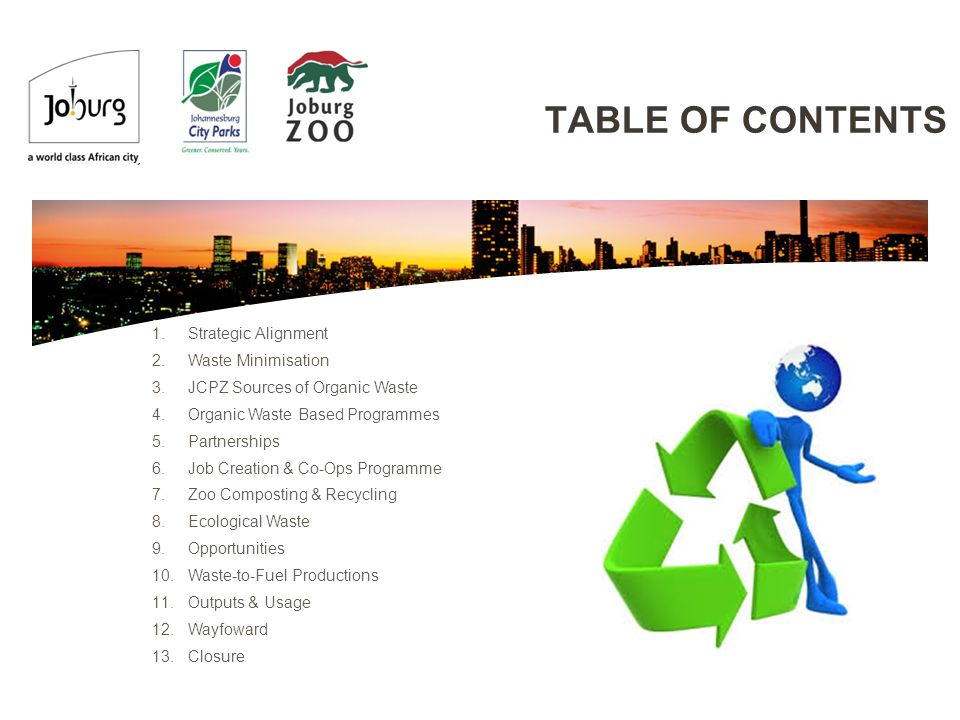 TABLE OF CONTENTS 1.Strategic Alignment 2.Waste Minimisation 3.JCPZ Sources of Organic Waste 4.Organic Waste Based Programmes 5.Partnerships 6.Job Creation & Co-Ops Programme 7.Zoo Composting & Recycling 8.Ecological Waste 9.Opportunities 10.Waste-to-Fuel Productions 11.Outputs & Usage 12.Wayfoward 13.Closure