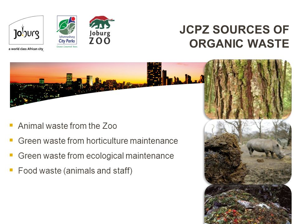 JCPZ SOURCES OF ORGANIC WASTE  Animal waste from the Zoo  Green waste from horticulture maintenance  Green waste from ecological maintenance  Food waste (animals and staff)