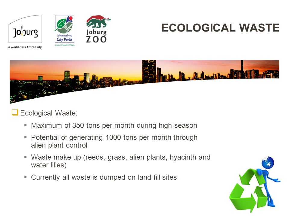 ECOLOGICAL WASTE  Ecological Waste:  Maximum of 350 tons per month during high season  Potential of generating 1000 tons per month through alien plant control  Waste make up (reeds, grass, alien plants, hyacinth and water lilies)  Currently all waste is dumped on land fill sites