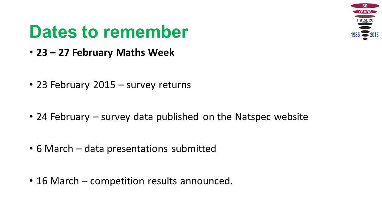 Dates to remember 23 – 27 February Maths Week 23 February 2015 – survey returns 24 February – survey data published on the Natspec website 6 March – data presentations submitted 16 March – competition results announced.