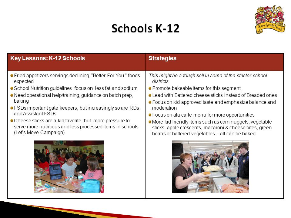 Key Lessons: K-12 SchoolsStrategies Fried appetizers servings declining, Better For You foods expected School Nutrition guidelines- focus on less fat and sodium Need operational help/training, guidance on batch prep, baking FSDs important gate keepers, but increasingly so are RDs and Assistant FSDs Cheese sticks are a kid favorite, but more pressure to serve more nutritious and less processed items in schools (Let's Move Campaign) This might be a tough sell in some of the stricter school districts Promote bakeable items for this segment Lead with Battered cheese sticks instead of Breaded ones Focus on kid-approved taste and emphasize balance and moderation Focus on ala carte menu for more opportunities More kid friendly items such as corn nuggets, vegetable sticks, apple crescents, macaroni & cheese bites, green beans or battered vegetables – all can be baked *: Source: Technomic, 1/09