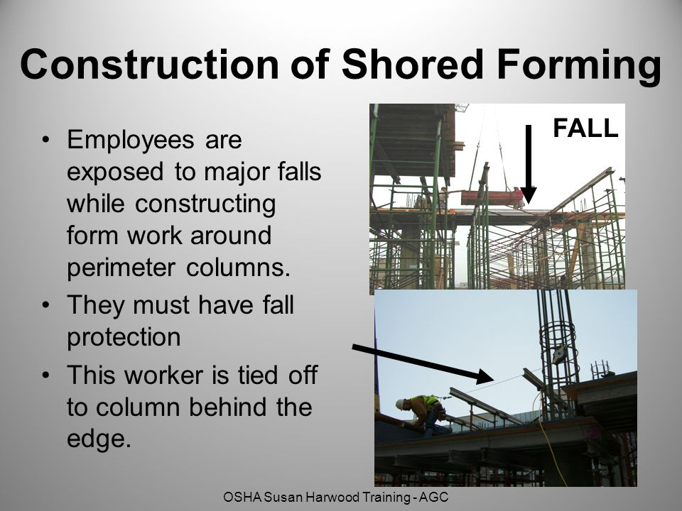 OSHA Susan Harwood Training - AGC Construction of Shored Forming Employees are exposed to major falls while constructing form work around perimeter co