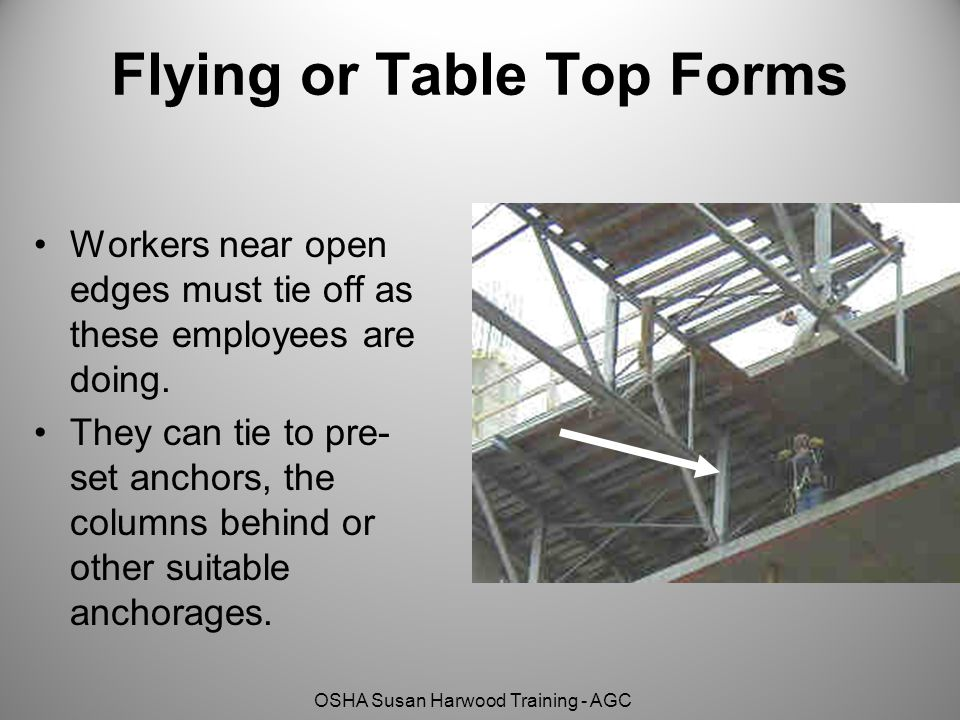 OSHA Susan Harwood Training - AGC Flying or Table Top Forms Workers near open edges must tie off as these employees are doing. They can tie to pre- se