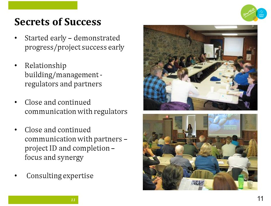 11 Secrets of Success Started early – demonstrated progress/project success early Relationship building/management - regulators and partners Close and continued communication with regulators Close and continued communication with partners – project ID and completion – focus and synergy Consulting expertise