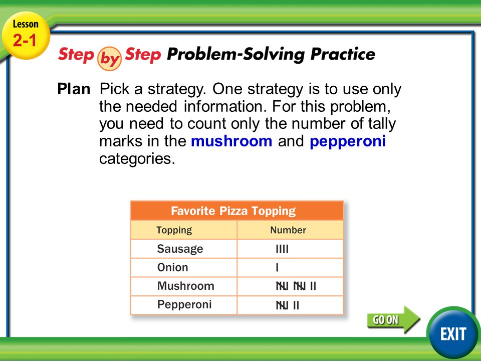 Lesson 2-1 Example 4 2-1 Plan Pick a strategy. One strategy is to use only the needed information. For this problem, you need to count only the number