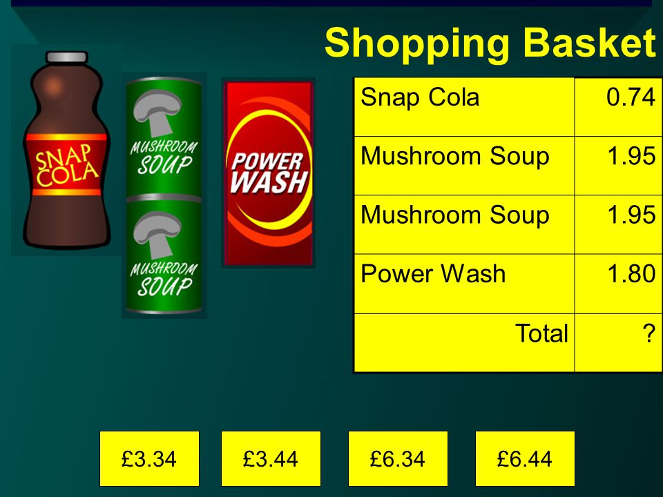 Shopping Basket £3.34£3.44£6.34£6.44 Snap Cola0.74 Mushroom Soup1.95 Mushroom Soup1.95 Power Wash1.80 Total?