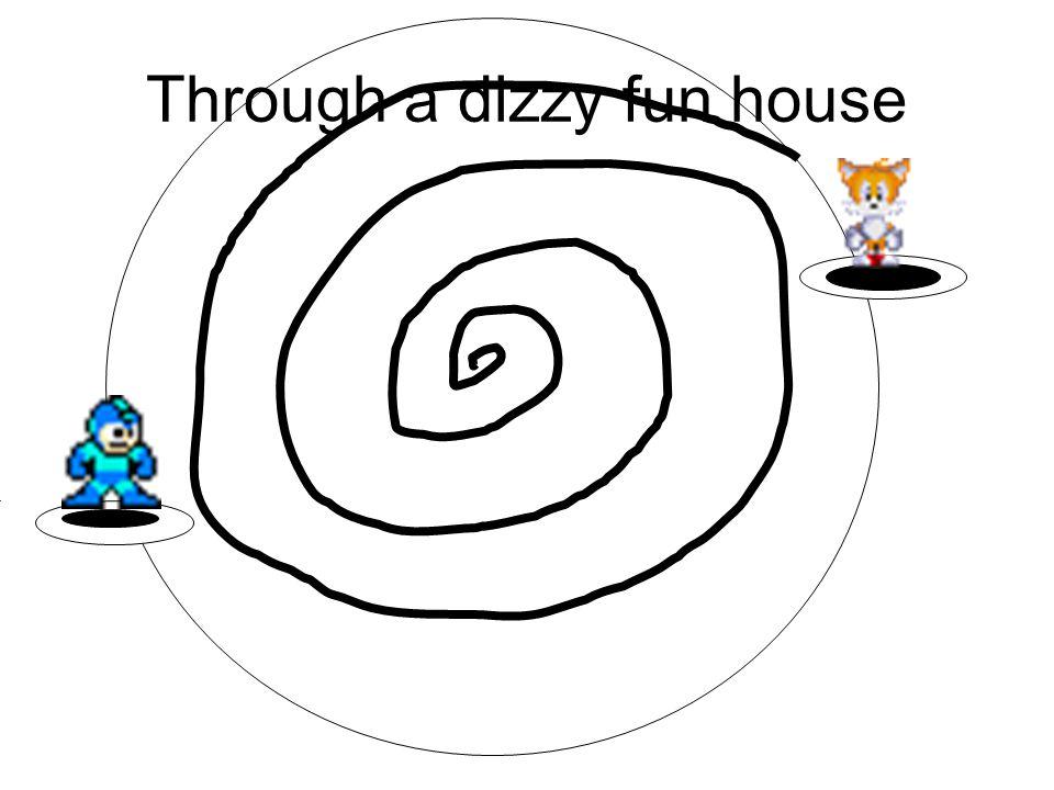 Through a dizzy fun house