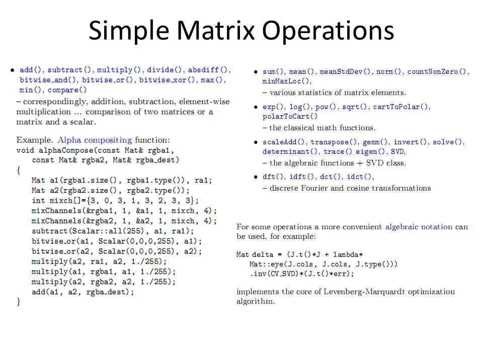 Simple Matrix Operations