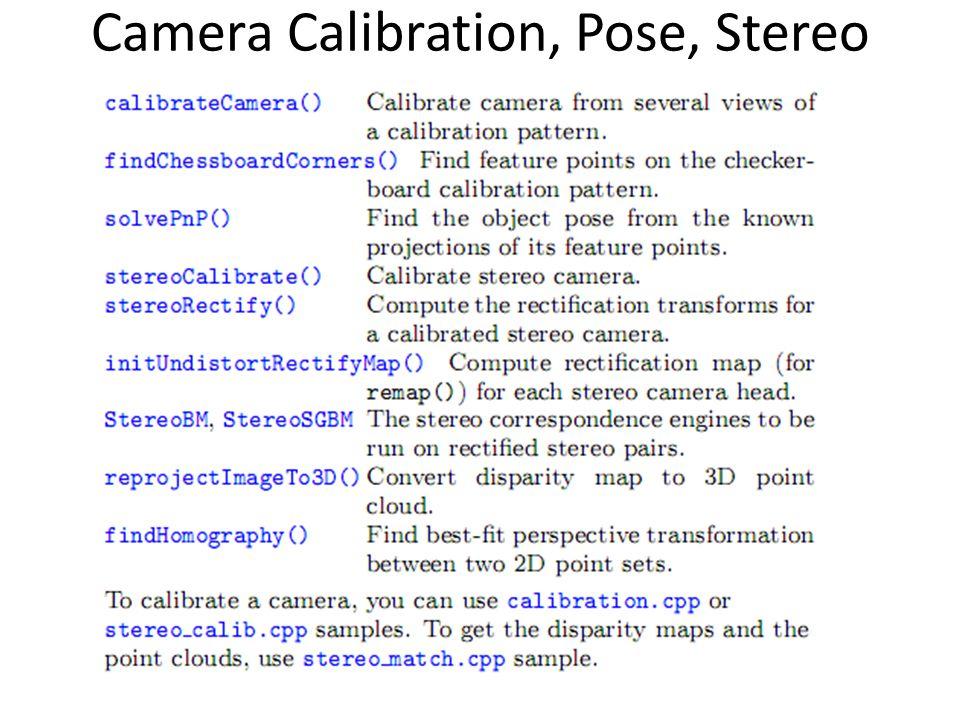 Camera Calibration, Pose, Stereo