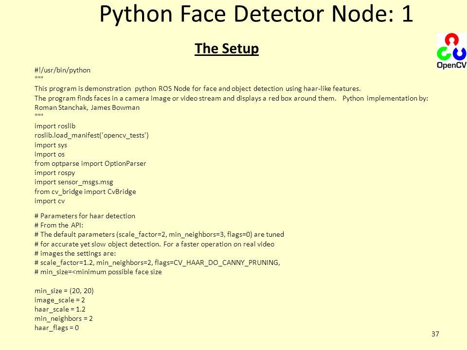 Python Face Detector Node: 1 37 #!/usr/bin/python