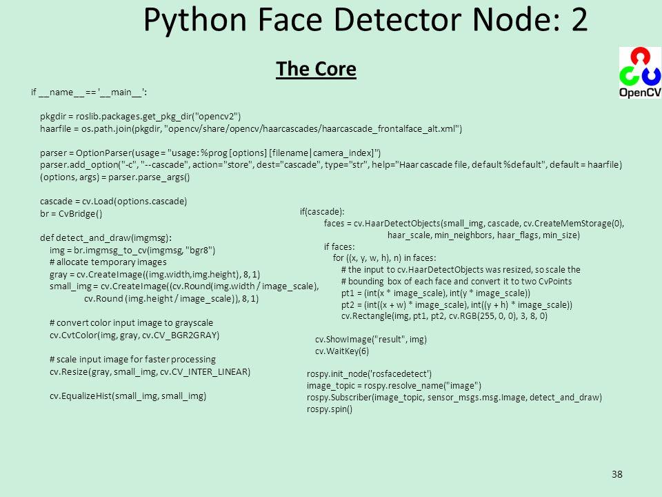 Python Face Detector Node: 2 38 if __name__ == '__main__': pkgdir = roslib.packages.get_pkg_dir(