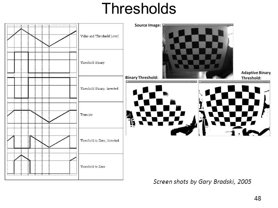 Thresholds 48 Screen shots by Gary Bradski, 2005