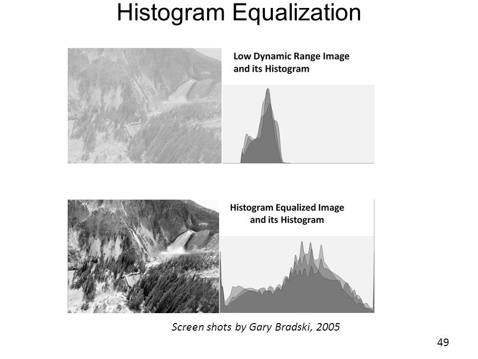 Histogram Equalization 49 Screen shots by Gary Bradski, 2005