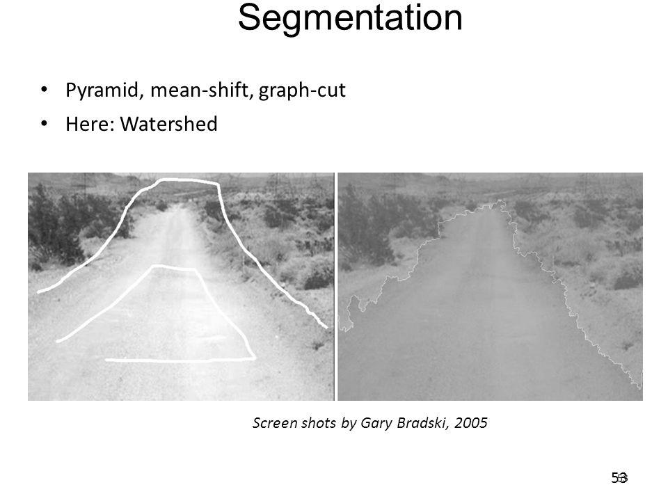 Segmentation Pyramid, mean-shift, graph-cut Here: Watershed 53 Screen shots by Gary Bradski, 2005