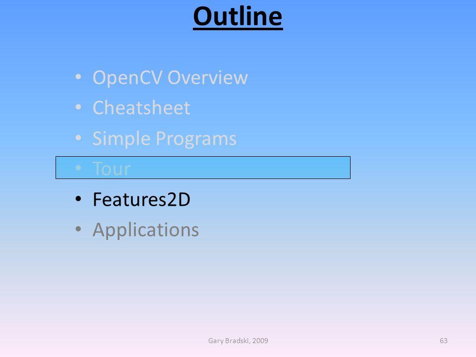 Outline OpenCV Overview Cheatsheet Simple Programs Tour Features2D Applications Gary Bradski, 200963