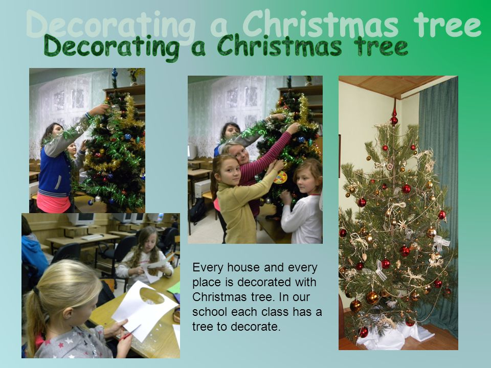 Every house and every place is decorated with Christmas tree. In our school each class has a tree to decorate.