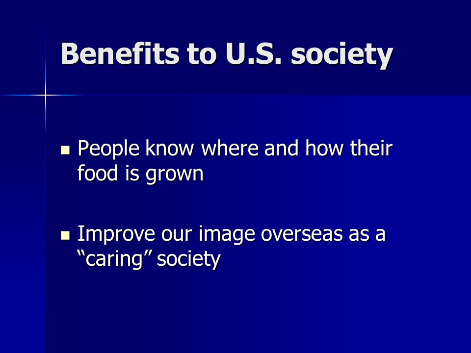 Benefits to U.S.