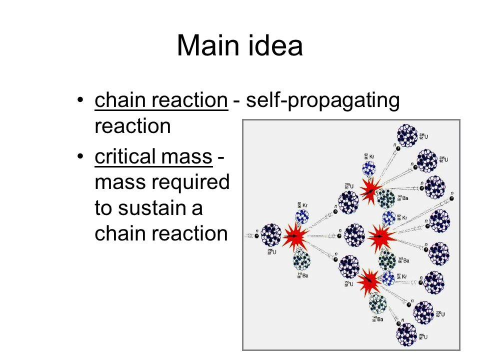 Main idea chain reaction - self-propagating reaction critical mass - mass required to sustain a chain reaction