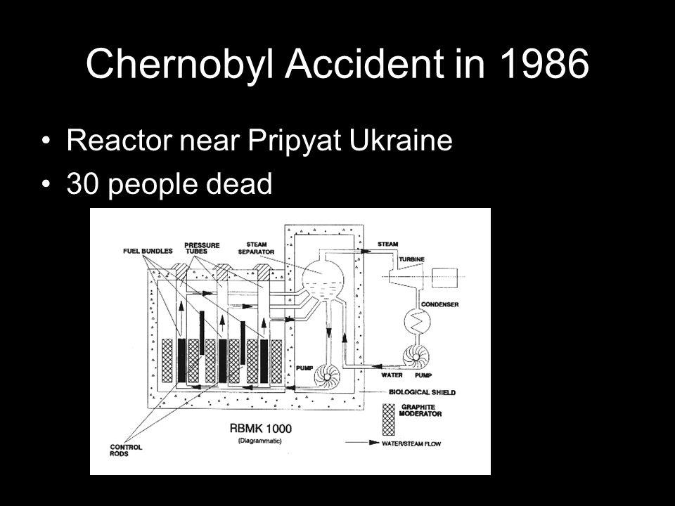 Chernobyl Accident in 1986 Reactor near Pripyat Ukraine 30 people dead